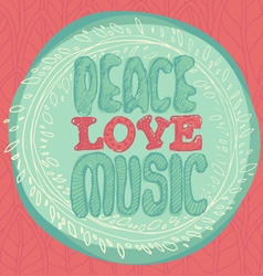 Peace love music emblem vector