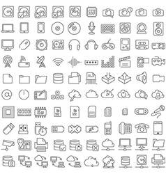 One hundred icons of electronics and digital vector