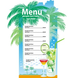 Template designs of cocktail menu vector