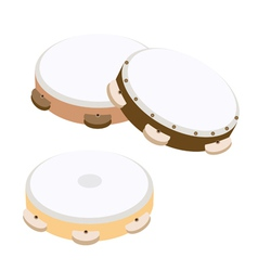 Beautiful three wooden tambourine vector