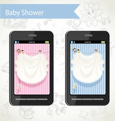 Smart phone with a baby shower cards to choose vector