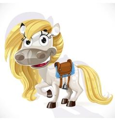 Cute cartoon white baby horse vector