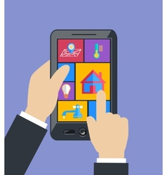 Hand holding tablet controls smart home utilities vector