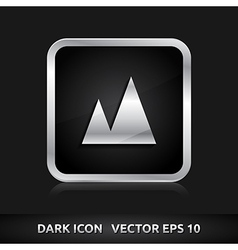 Picture mountains nature icon silver metal vector