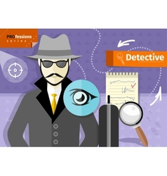 Male detective in hat coat and sunglasses vector