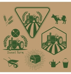 Set of retro farm labels vector