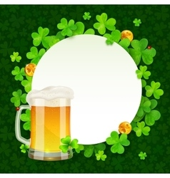 Mug of light beer on green clovers round vector
