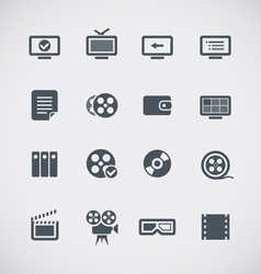 Cinema web silhouettes collection vector