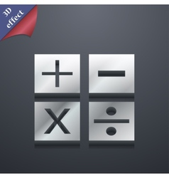 Mathematics icon symbol 3d style trendy modern vector