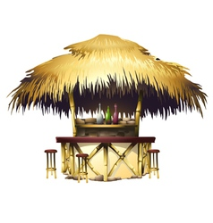 Tropical bungalow bar isolated drawing vector
