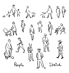 Casual people sketch outline hand drawing vector