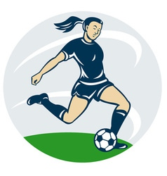 Woman girl playing soccer kicking the ball ca vector