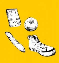 Shoes football soccer ball bread vector