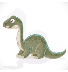 Little brontosaurus isolated on white background vector