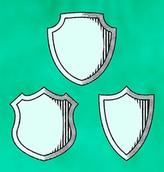 Set of woodcut shields vector