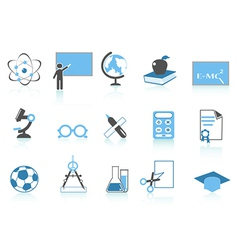Simple education icon blue series vector