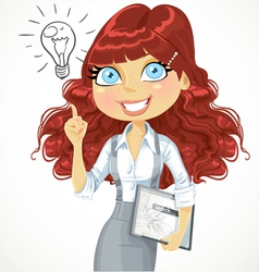 Girl with a electronic tablet idea inspiration vector