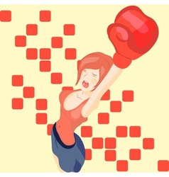 Beautiful girl in boxing gloves vector