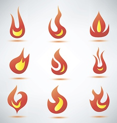 Fire flame symbol set of icons vector