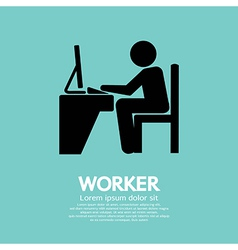 Office worker using computer vector