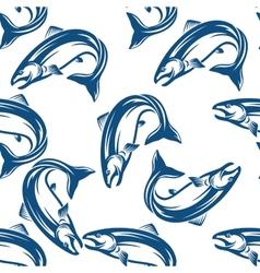 Salmon fish seamless pattern vector