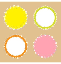 4 cute lace border round labels vector