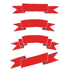 Red ribbon hand drawing vector