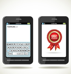 Smartphone with on screen keyboard vector