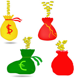 Money bag with euro and dollar sign vector