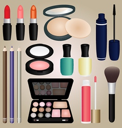 Set of cosmetics and make up brush vector