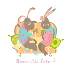 Cute bunnies in love vector