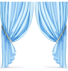 Blue curtain collected in folds ribbon isolated on vector