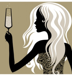Vintage woman with glass of champagne vector