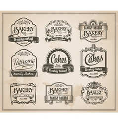 Vintage retro bakery label set vector