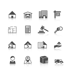 Real estate icons black vector