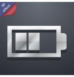 Battery half level icon symbol 3d style trendy vector