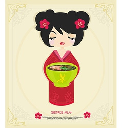 Beautiful asian little girl enjoy japanese food - vector