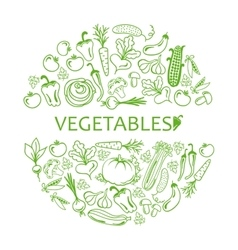 Black icon vegetables set vector