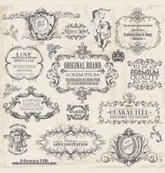 Calligraphic design elements vintage set vector
