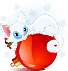 White christmas cat vector