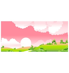 Idyllic sunset landscape vector