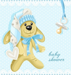 Baby shower card with blue soft rabbit vector