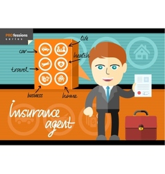 Male insurance agent presenting contract vector