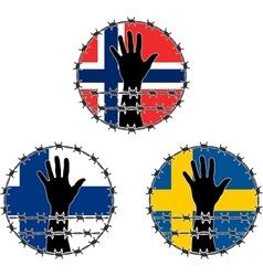 Violation of human rights in scandinavian vector