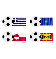 Soccer ball of greece guam greenland and grena vector