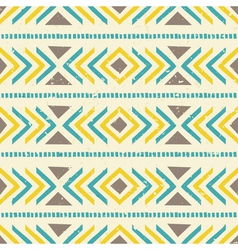 Aztec seamless pattern in brown yellow and blue vector