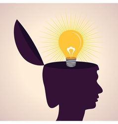 Thinking concept-human head with bulb symbol vector