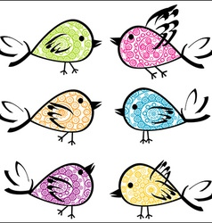 Set of colorful patterned birds vector