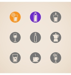 Set of icons with beverages vector
