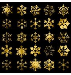 Golden snowflakes vector